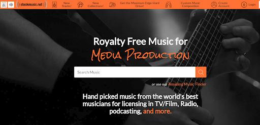 The stockmusic.net home screen